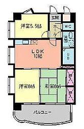 福岡県北九州市小倉南区下城野1丁目の賃貸マンションの間取り