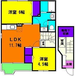 静岡県浜松市東区積志町の賃貸アパートの間取り