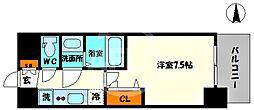 プレサンス堺筋本町センティス 13階1Kの間取り