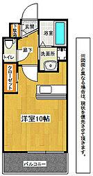 JR鹿児島本線 小倉駅 徒歩8分の賃貸マンション 8階ワンルームの間取り
