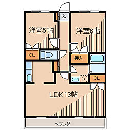 セントラル喜和[5階]の間取り