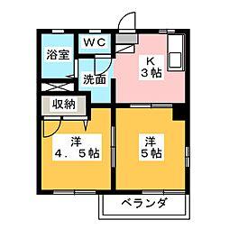ルミエール弐番館B[2階]の間取り