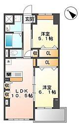 埼玉県さいたま市岩槻区美園東1丁目の賃貸マンションの間取り