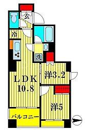 パークアクシス吾妻橋 7階2LDKの間取り