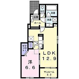 JR篠ノ井線 平田駅 3.2kmの賃貸アパート 1階1LDKの間取り