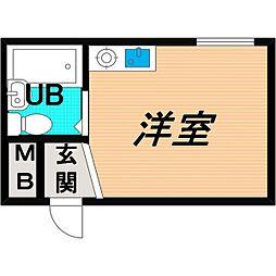 Osaka Metro谷町線 千林大宮駅 徒歩9分の賃貸マンション 5階ワンルームの間取り