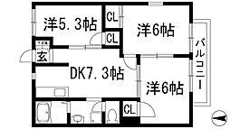兵庫県川西市山原1丁目の賃貸マンションの間取り