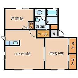 ラフレシアコーポ B棟[1階]の間取り