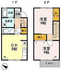滋賀県近江八幡市安土町慈恩寺の賃貸アパートの間取り