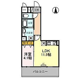 (仮)D-room旭ケ丘町 1階1LDKの間取り
