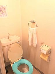 暖かいライトで落ち着くトイレです
