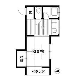 東京都中野区上鷺宮の賃貸アパートの間取り