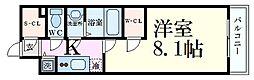 エスリード京都梅小路 7階1Kの間取り