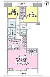 東急多摩川線 下丸子駅 徒歩7分の賃貸マンション 4階2LDKの間取り
