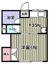市川ハイツA[2階]の間取り