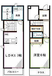 JR中央本線 荻窪駅 徒歩7分の賃貸テラスハウス 1LDKの間取り