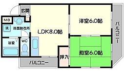 コーポARAMAN 2階2LDKの間取り