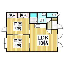 アパートメントプロム美園[1−B号室]の間取り