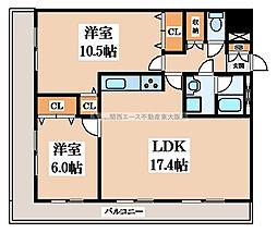 万葉ハイツ小阪菱屋西[4階]の間取り