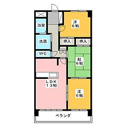 三重県四日市市波木南台3丁目の賃貸マンションの間取り