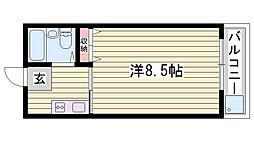 JR播但線 野里駅 徒歩20分の賃貸マンション 2階1Kの間取り