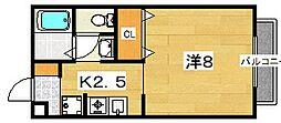 楠葉ビューハイツ[2階]の間取り