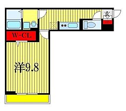 (仮称)D-room幕張本郷3-4 2階1Kの間取り