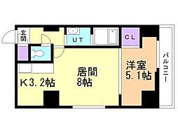 スペチアーレ・プリーモ 6階1LDKの間取り