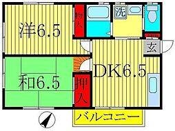 山崎ハイツA[201号室]の間取り