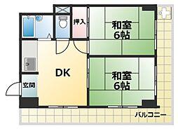 藤堂王子ハイツ[6階]の間取り
