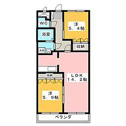 愛知県小牧市堀の内5丁目の賃貸マンションの間取り