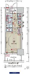 阪神なんば線 九条駅 徒歩3分の賃貸マンション 14階1Kの間取り