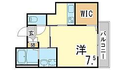 神戸市海岸線 駒ヶ林駅 徒歩5分の賃貸マンション 1階1Kの間取り