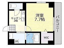 阪急宝塚本線 池田駅 徒歩2分の賃貸マンション 4階1Kの間取り