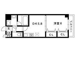 阪急神戸線 御影駅 6階建[507号室]の間取り