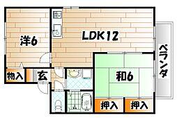 福岡県北九州市若松区高須北1の賃貸アパートの間取り