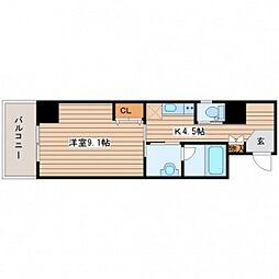 JR山陽本線 五日市駅 徒歩18分の賃貸マンション 11階1Kの間取り