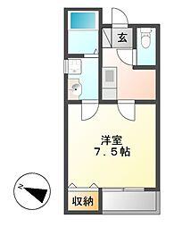 クレフラスト広川A棟[1階]の間取り