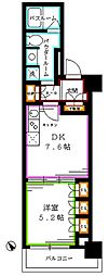 JR総武線 東中野駅 徒歩1分の賃貸マンション 7階1DKの間取り