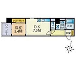 西鉄天神大牟田線 雑餉隈駅 徒歩4分の賃貸マンション 7階1DKの間取り