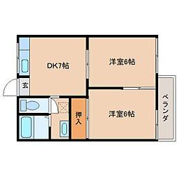 奈良県奈良市西大寺北町4丁目の賃貸アパートの間取り