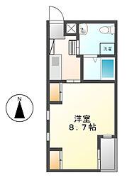 愛知県名古屋市中村区太閤通9丁目の賃貸アパートの間取り
