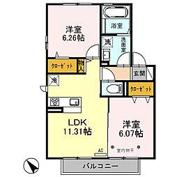 松ヶ丘D room B[2階]の間取り