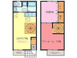 [テラスハウス] 愛知県常滑市かじま台1丁目 の賃貸【愛知県 / 常滑市】の間取り