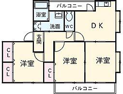 愛知県安城市古井町小仏の賃貸アパートの間取り