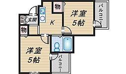 六龍苑岡町[1L号室]の間取り
