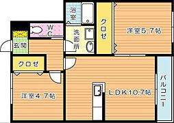 ConfortoY折尾(コンフォートY折尾)[1階]の間取り