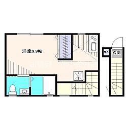 西武新宿線 花小金井駅 徒歩4分の賃貸アパート 2階1Kの間取り
