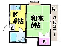 愛媛県松山市枝松3丁目の賃貸アパートの間取り