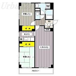 神奈川県横浜市港北区綱島西6の賃貸マンションの間取り